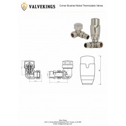 Brushed Nickel Thermostatic Corner Radiator Valves Technical Drawing