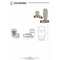 Brushed Nickel Thermostatic Corner Radiator Valves Technical Drawing