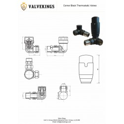 Corner Black Thermostatic Radiator Valves - Technical Drawing