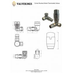 Corner Brushed Nickel Thermostatic Radiator Valves - Technical Drawing