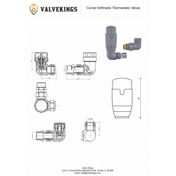 Corner Anthracite Thermostatic Valves - Technical Drawing