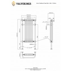 Anne Traditional Towel Rail - 550 x 1130mm - Technical Drawing