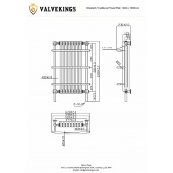 Elizabeth Traditional Towel Rail - 635 x 1000mm - Technical Drawing