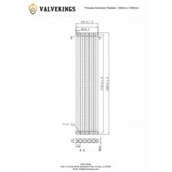 Princess White Aluminium Radiator - 405 x 1800mm - Technical Drawing