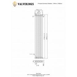 Princess Anthracite Aluminium Radiator - 318 x 1800mm - Technical Drawing