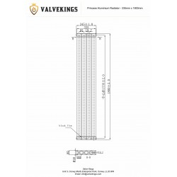 Princess Anthracite Aluminium Radiator - 335 x 1800mm - Technical Drawing