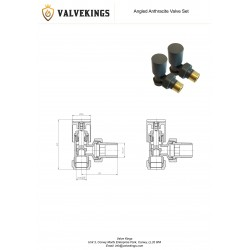 Anthracite Radiator Valves Angled - Technical Drawing