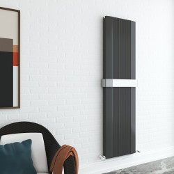Supreme Anthracite Aluminium Radiator - 470 x 1800mm Double With Towel Bar