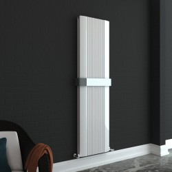 Supreme White Aluminium Radiator - 470 x 1800mm Double With Towel Bar