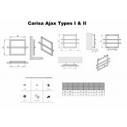 Carisa Ajax I Polished Aluminium Designer Towel Rail - 600 x 450mm - Technical Drawing