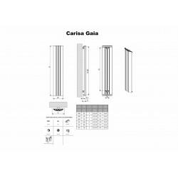 Carisa Gaia White Aluminium Radiator - 430 x 1800mm - Technical Drawing