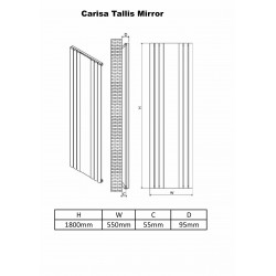 Carisa Tallis Black Aluminium Mirror Radiator - 550 x 1800mm - Technical Drawing