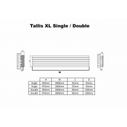 Carisa Tallis Black Aluminium Radiator - 1800 x 470mm - Technical Drawing