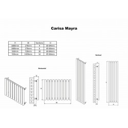Carisa Mayra Chrome Radiator - 1020 x 550mm - Technical Drawing