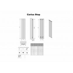 Carisa Step White Aluminium Radiator - 375 x 1800mm - Technical Drawing