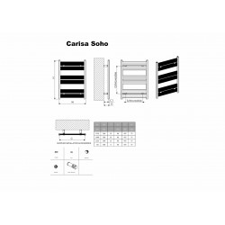 Carisa Soho Polished Aluminium Designer Towel Rail - 500 x 1735mm - Technical Drawing
