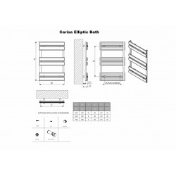 Carisa Elliptic Bath Polished Aluminium Designer Towel Rail - 500 x 1590mm - Technical Drawing