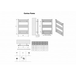 Carisa Fame Polished Aluminium Designer Towel Rail - 500 x 1460mm - Technical Drawing