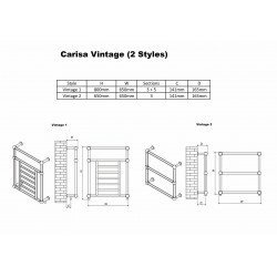 Carisa Vintage Traditional Towel Rail - 650 x 800mm - Technical Drawing