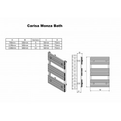 Carisa Monza Bath Polished Aluminium Designer Towel Rail - 500 x 1190mm - Technical Drawing