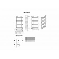 Carisa Baron Polished Aluminium Designer Towel Rail - 500 x 720mm - Technical Drawing