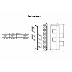 Carisa Mate Black Aluminium Designer Towel Rail - 600 x 900mm - Technical Drawing