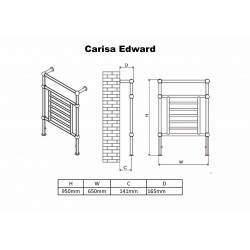 Carisa Edward Chrome Traditional Towel Rail - 500 x 1000mm - Technical Drawing