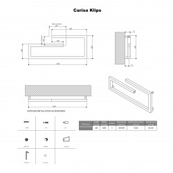 Carisa Klips Brushed Stainless Steel Designer Towel Rail - 1000 x 400mm - Technical Drawing