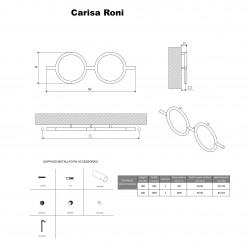 Carisa Roni Polished Stainless Steel Designer Towel Rail - 1000 x 400mm - Technical Drawing