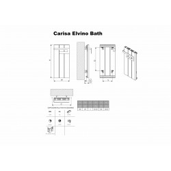Carisa Elvino Bath White Designer Towel Rail - 370 x 800mm - Technical Drawing