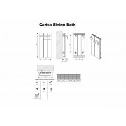 Carisa Elvino Bath Black Designer Towel Rail - 370 x 800mm - Technical Drawing