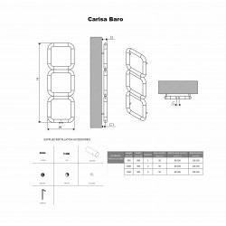 Carisa Baro Polished Stainless Designer Towel Rail - 500 x 1000mm - Technical Drawing