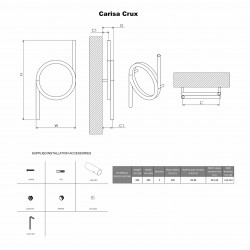 Carisa Crux Polished Stainless Steel Designer Towel Rail - 400 x 800mm - Technical Drawing