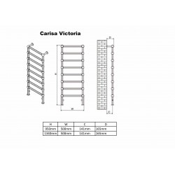 Carisa Victoria Traditional Towel Rail - 500 x 950mm - Technical Drawing