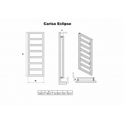 Carisa Eclipse Brushed Stainless Steel Designer Towel Rail - 500 x 1370mm - Technical Drawing