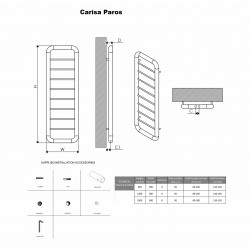 Carisa Paros Brushed Stainless Steel Designer Towel Rail - 500 x 1500mm - Technical Drawing