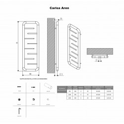 Carisa Aren Brushed Stainless Steel Designer Towel Rail - 500 x 1200mm - Technical Drawing