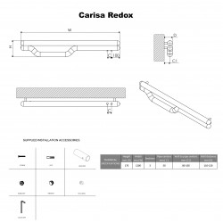 Carisa Redox Brushed Stainless Steel Designer Towel Rail - 1200 x 225mm - Technical Drawing
