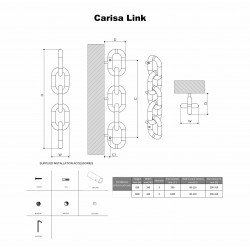 Carisa Link Polished Stainless Steel Designer Towel Rail - 240 x 830mm - Technical Drawing
