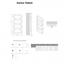 Carisa Talent Brushed Stainless Steel Designer Towel Rail - 500 x 1040mm - Technical Drawing