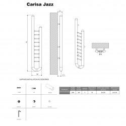 Carisa Jazz Polished Stainless Steel Designer Towel Rail - 240 x 1500mm - Technical Drawing