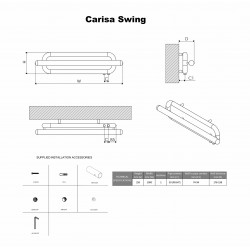 Carisa Swing Brushed Stainless Steel Designer Towel Rail - 1000 x 250mm - Technical Drawing