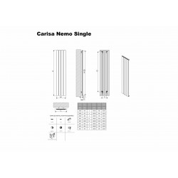 Carisa Nemo Black Aluminium Radiator - 1230 x 600mm - Technical Drawing