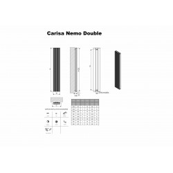 Carisa Nemo Double Black Aluminium Radiator - 1230 x 600mm - Technical Drawing
