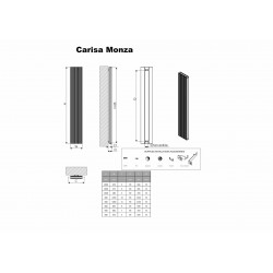 Carisa Monza Double Polished Aluminium Radiator - 375 x 1800mm - Technical Drawing