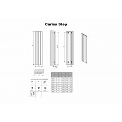Carisa Step White Aluminium Radiator - 660 x 600mm - Technical Drawing