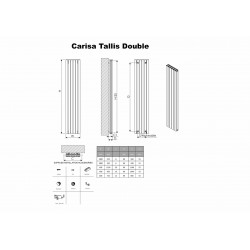 Carisa Tallis Double Black Aluminium Radiator - 950 x 600mm - Technical Drawing