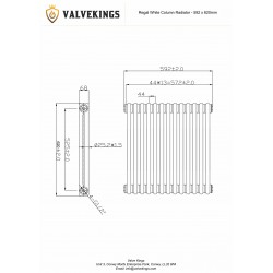 Regal White Column Radiator - 1208 x 620mm - Technical Drawing