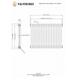 Regal White Column Radiator - 812 x 620mm - Technical Drawing