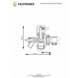 15mm Chrome Radiator Valve Drain Off (Single) - Technical Drawing